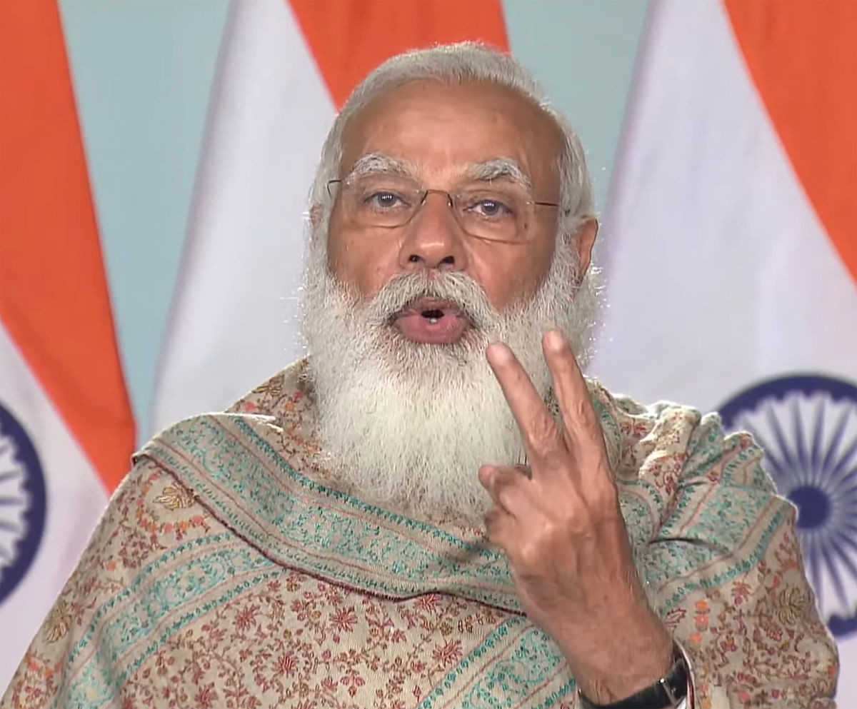 New Delhi: Prime Minister Narendra Modi speaks during the inauguration of Khelo India Winter Games in Gulmarg, via video conferencing, in New Delhi, Friday, Feb. 26, 2021.