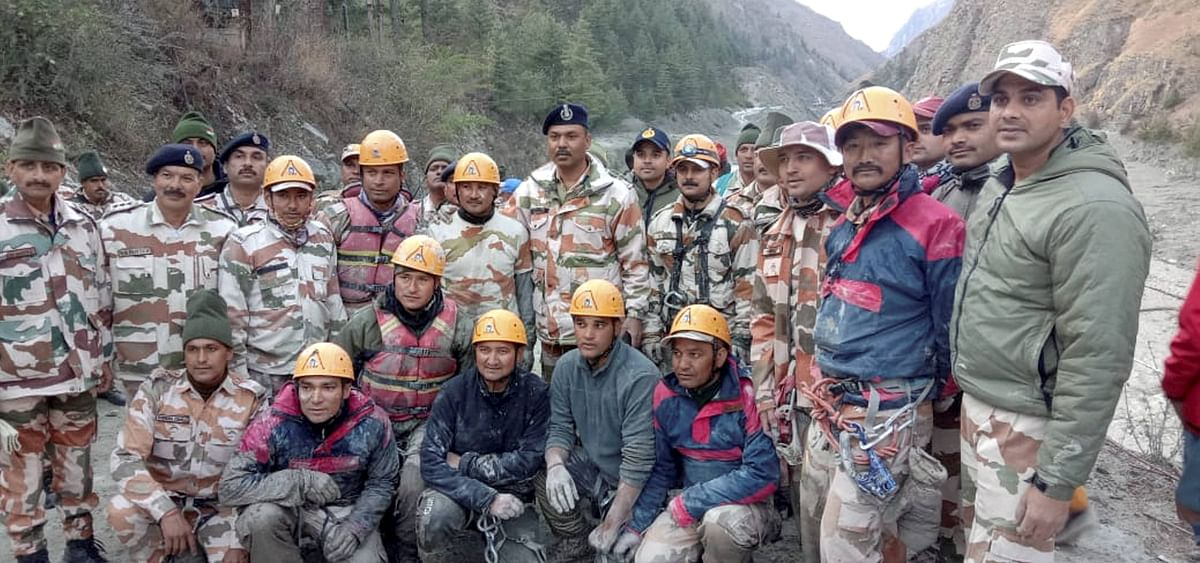 ITBP rescue team at Tapovan Tunnel, after a glacier broke off in Joshimath in Uttarakhand?s Chamoli district causing a massive flood in the Dhauli Ganga river, Sunday, Feb. 7, 2021. More than 150 labourers working at the Rishi Ganga power project may have been directly affected.