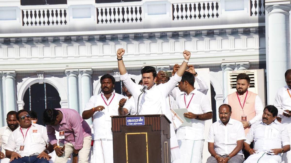 Tejasvi Surya addresses a rally in Tamil Nadu's Salem