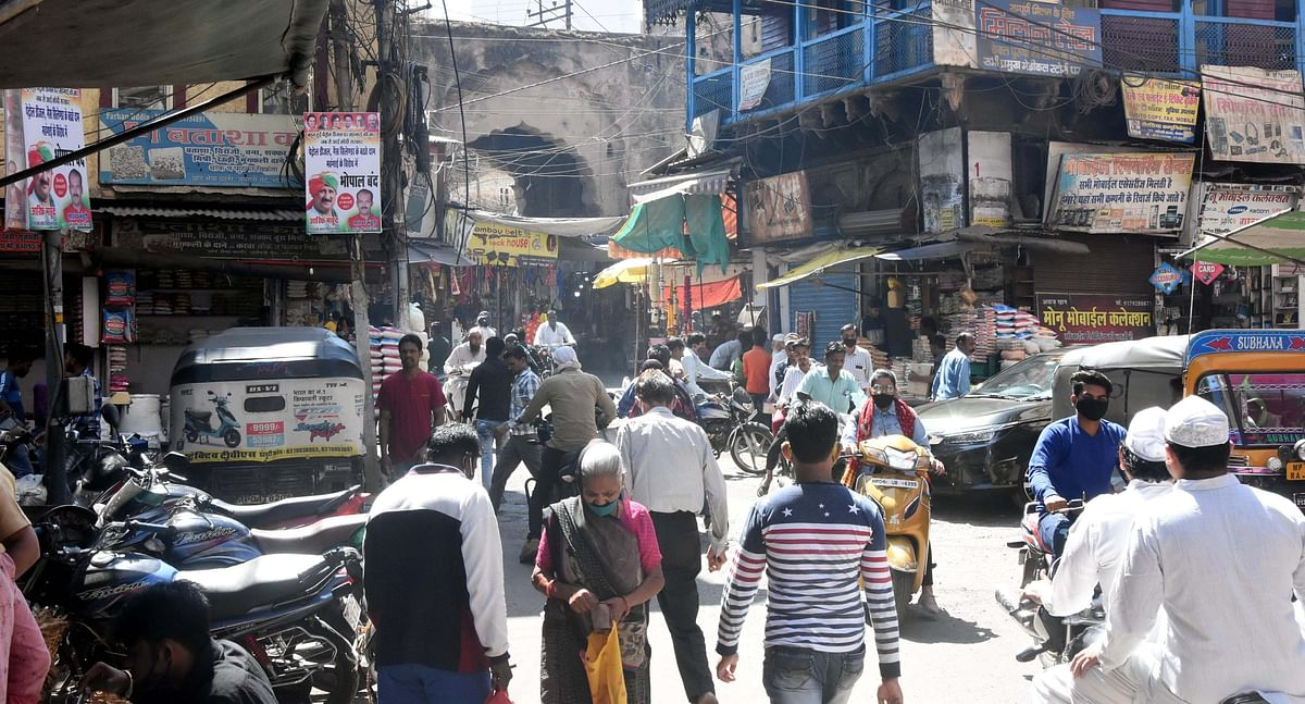Crowds seemingly thin in the Old City area of Bhopal on Wednesday as corona cases shot up.