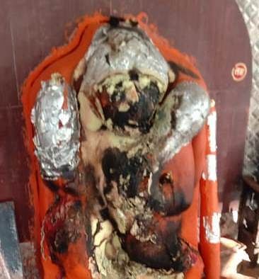 Lord Hanuman's idol blackened due to alleged attempt to burn it