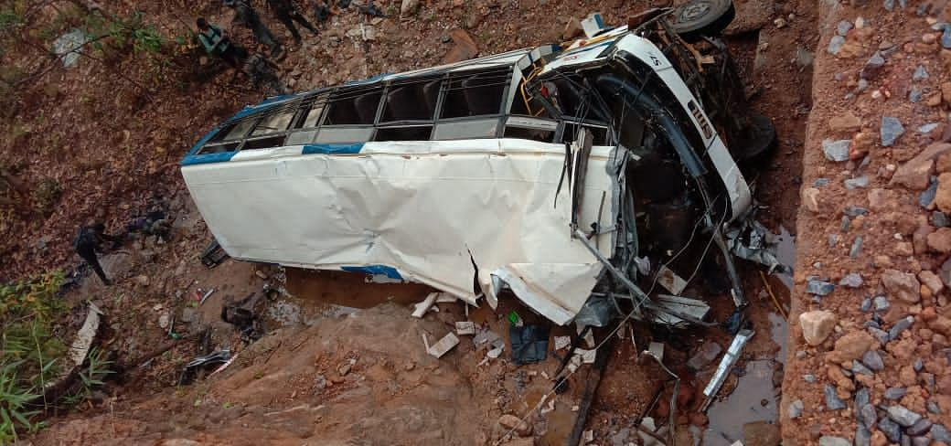 The bus which ferried DRG jawans after the attack