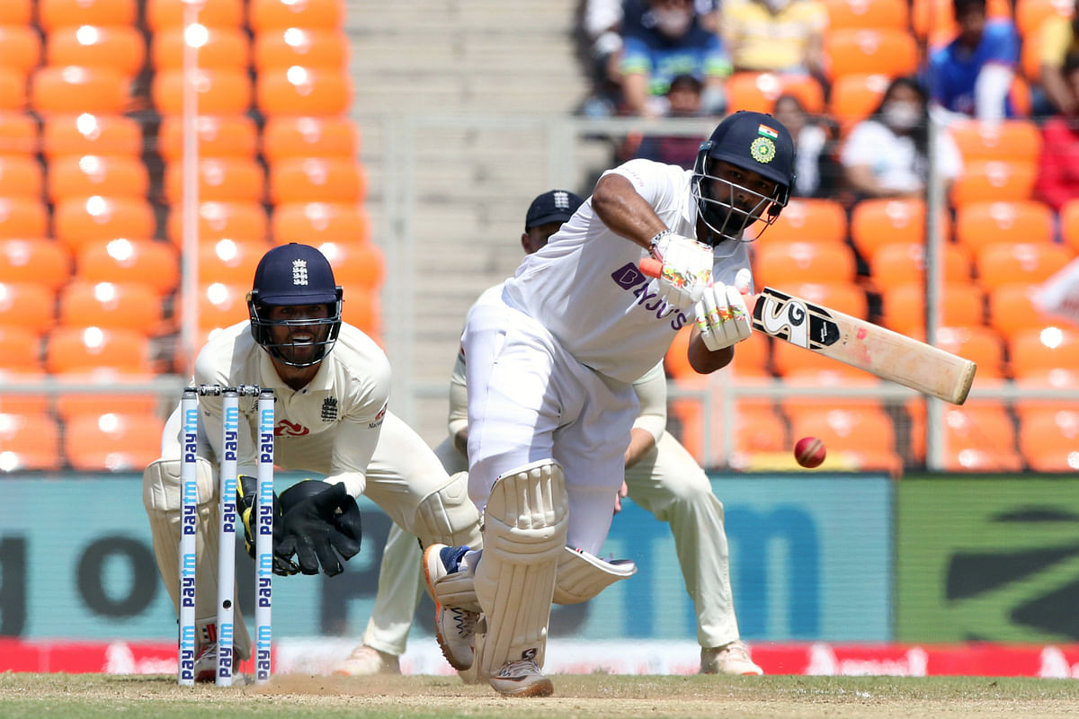 Gujarat, March 05 (ANI): Indias Rishabh Pant plays a shot during the fourth test match between India and England at Narendra Modi Stadium in Ahmedabad on Friday.