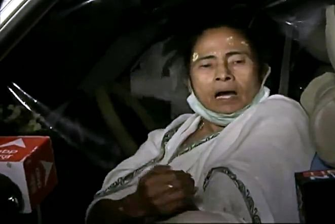 West Bengal CM Mamata Banerjee speaks to the media after being injured.