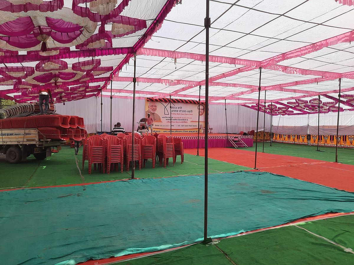 Empty tent at Pradhan Mantri Awas Yojana function in Meghnagar on Friday