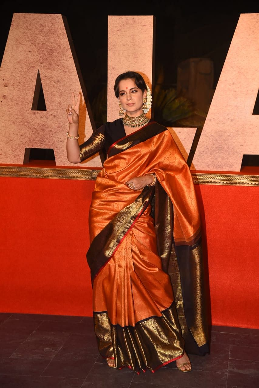 In Pics: Kangana Ranaut looks stunning in six yards of grace as she arrives for 'Thalaivi' trailer launch in Mumbai