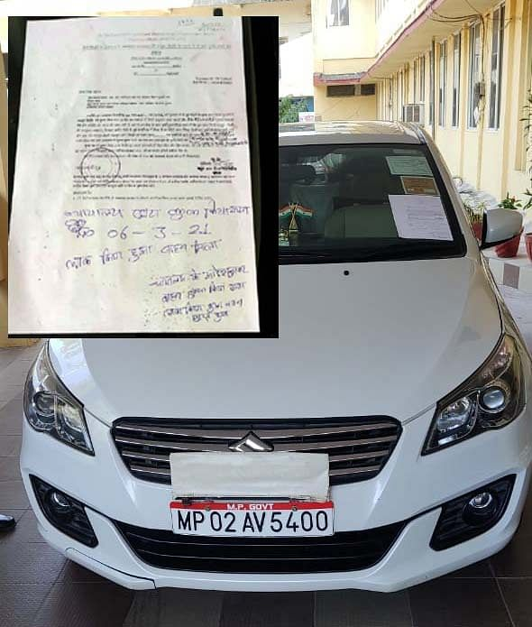 Court order for property attachment affixed on car of water resources department engineer-in-chief MS Dawar on Saturday.