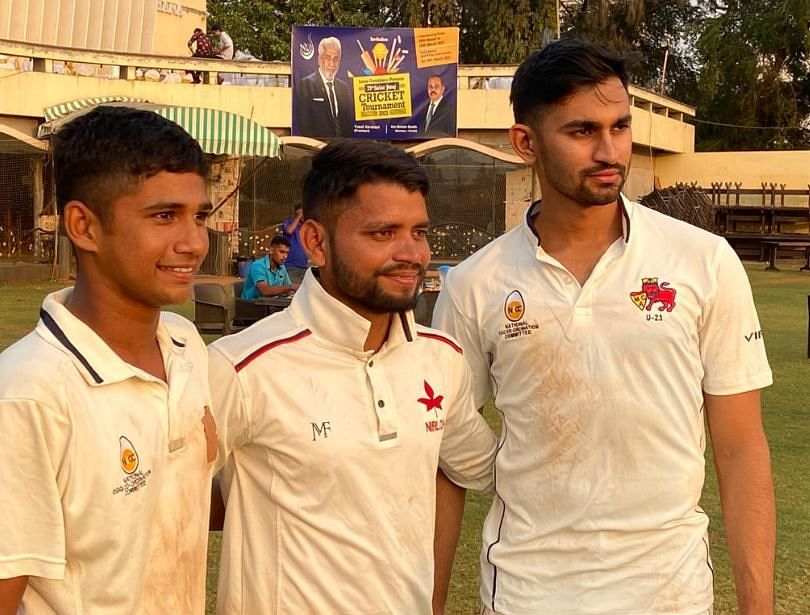 Young talented cricketer Musheer Ahmed Khan (left), Salman Khan (centre) and Sairaj Patil played key roles in Islam Gymkhana 7-run victory against Souvenir Cricket Club in a semi-final match of the 71st Nawab Salar Jung Invitation T20 Cricket Tournament