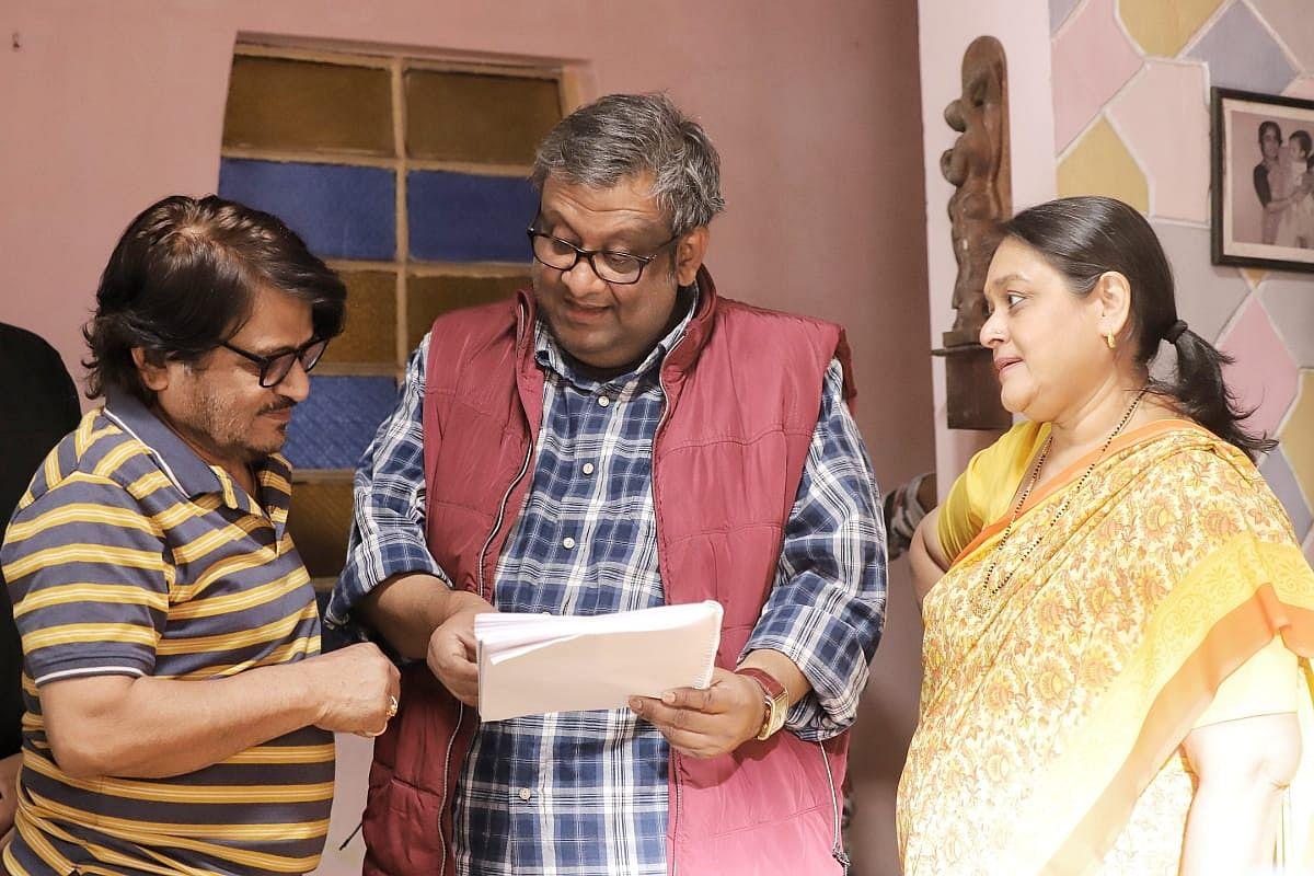 L-R, Raghubir Yadav, director Kaushik Ganguly and Supriya Pathak.