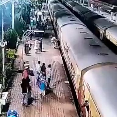 Watch: RPF constable saves passenger from getting crushed under train in Goa