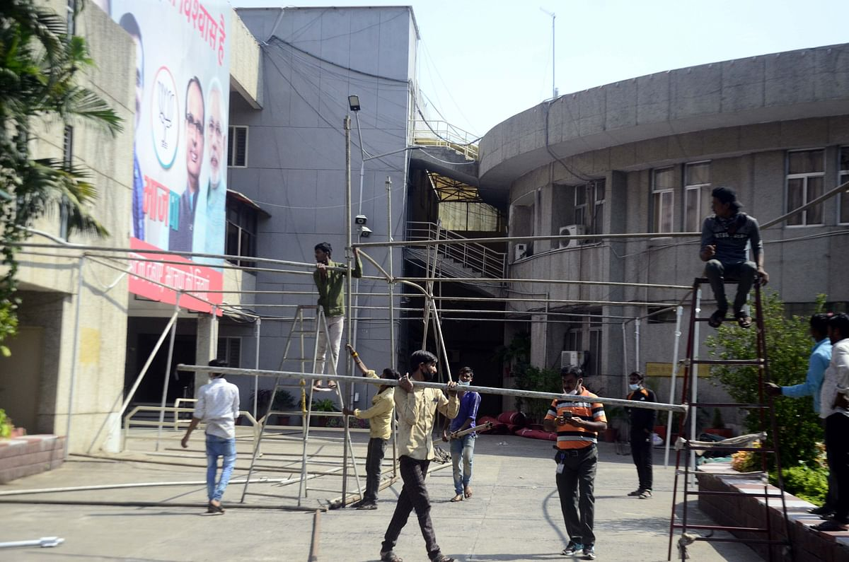 Preparations in progress at BJP office where the party will celebrate completion of one year of the BJP government.