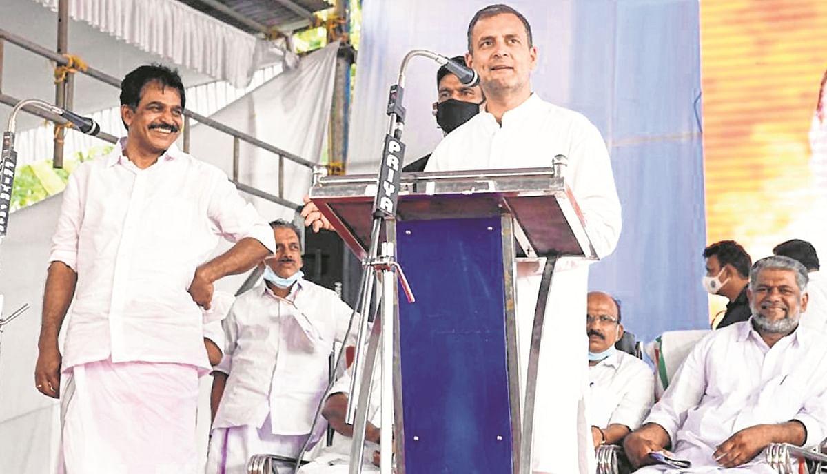 Cong leader Rahul Gandhi addresses a rally at  Pala in Kottayam.