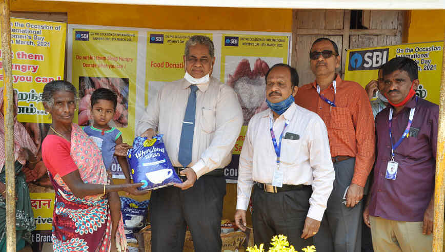 SBI donates provisions to leprosy home in Vadavalli, Coimbatore
