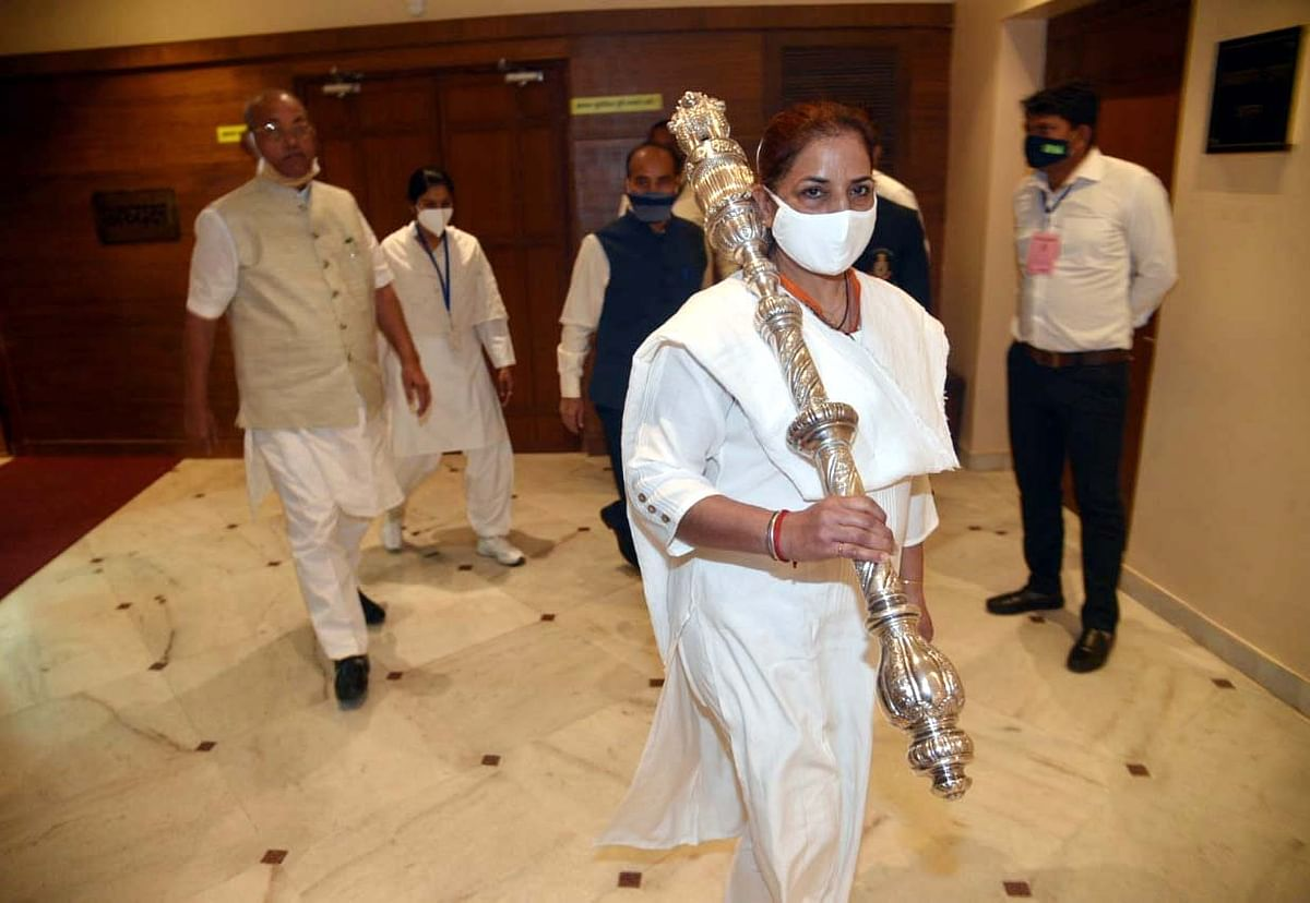 A woman marshal in the Madhya Pradesh Vidhan Sabha on International Women's Day on Monday.