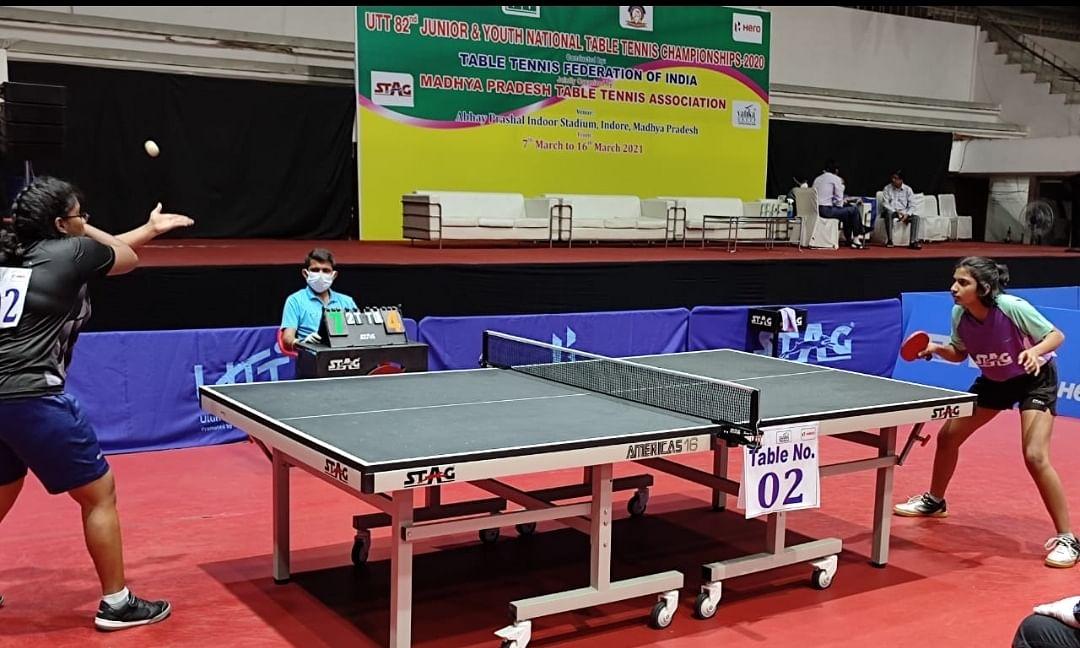 Table tennis match in progress on Sunday