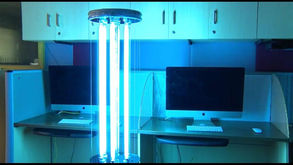 MUDRA is an abbreviation of Mahindra Universite UV Desinfectant Robot Autonome.