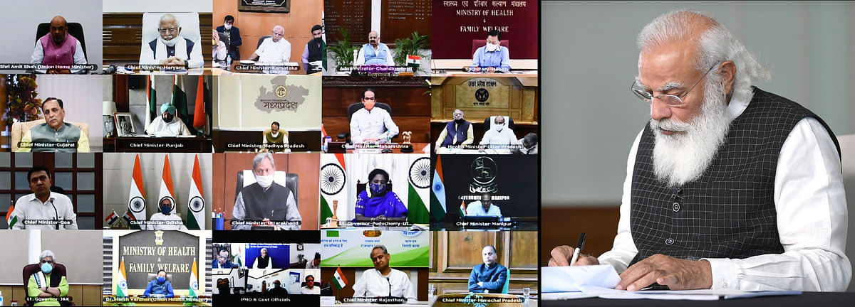 Prime Minister Narendra Modi interacts with the Chief Ministers on Covid-19 situation via video conferencing in New Delhi on Wednesday.