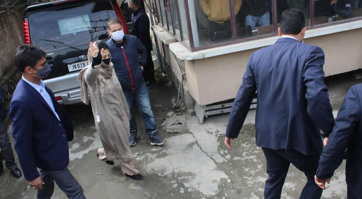 Mehbooba Mufti arrives at the ED office for questioning in connection with an alleged money laundering case, at Rajbagh in Srinagar, on Thursday.