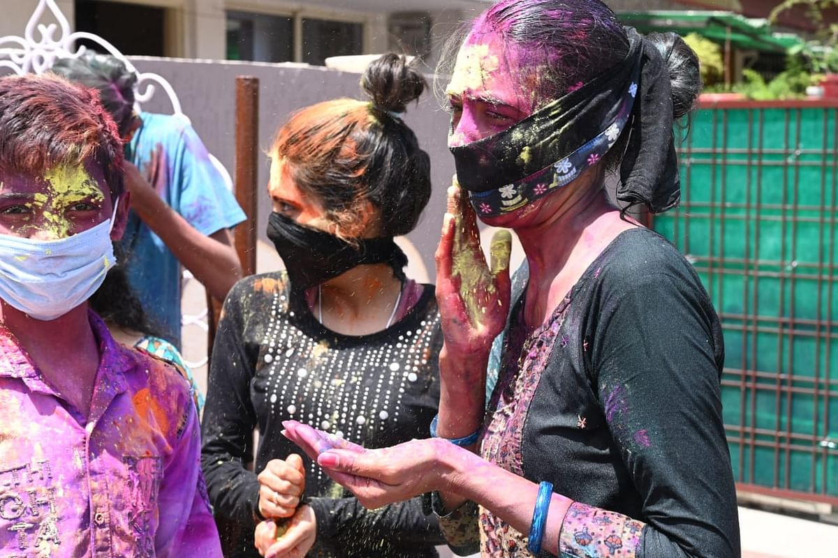 Holi with family and close friends in Budhwara, Old Bhopal