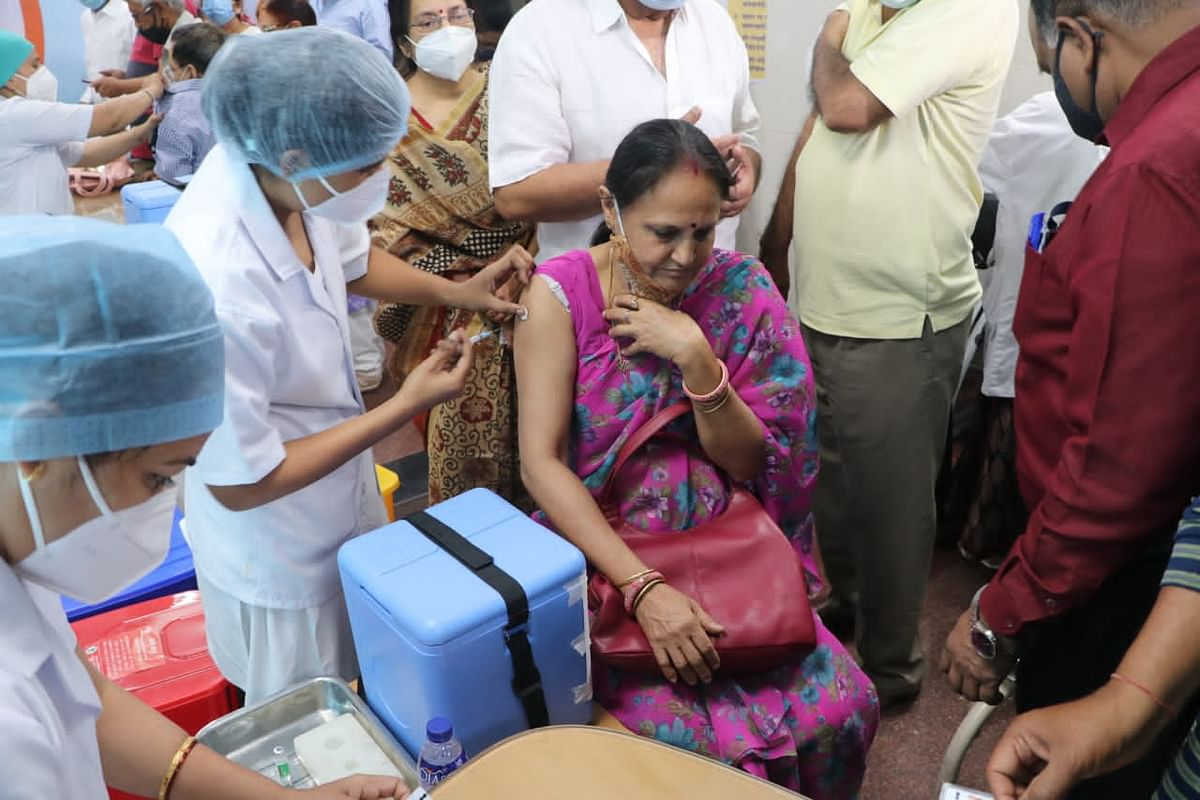 An elderly woman receives injection at JP Hospital in Bhopal on Monday