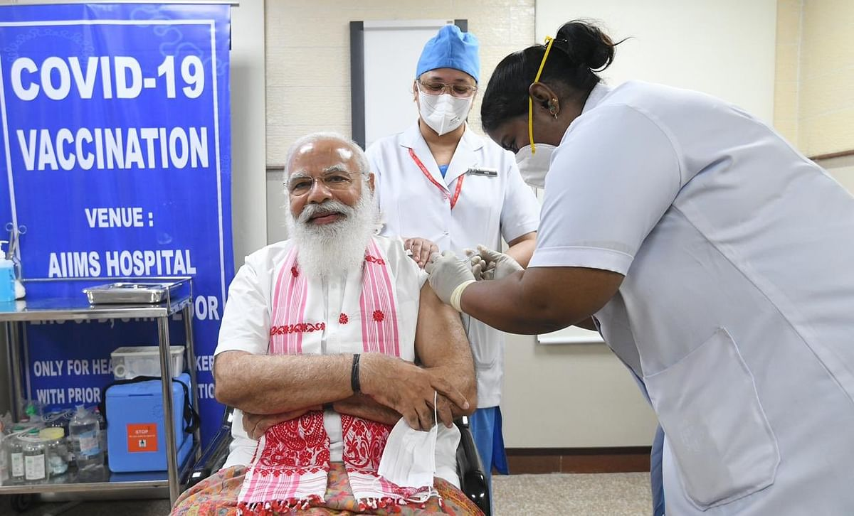 Assamese gamosa, nurses from Kerala and Puducherry: In PM's vaccination photo, many see poll reminders