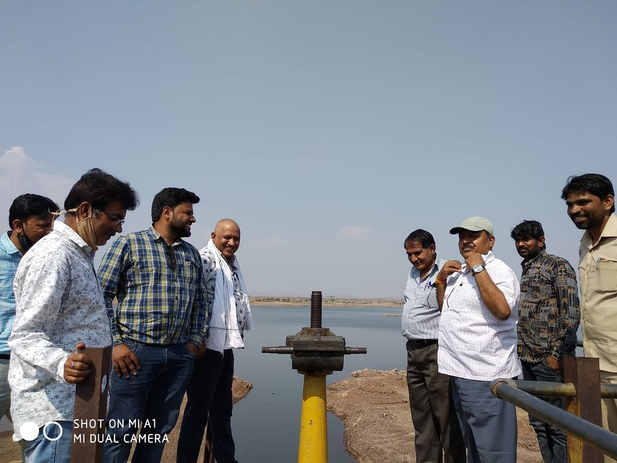 Officials at Relawati dam on Monday