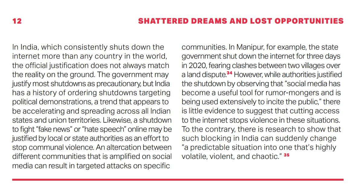 'India once again topped list of internet shutdowns', says new report; Opposition leaders, critics outraged