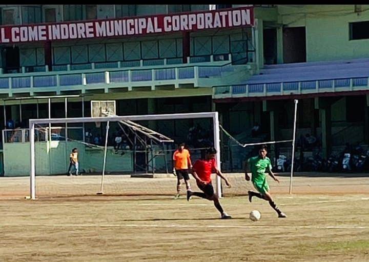 Football match at Nehru Stadium in Indore on Saturday