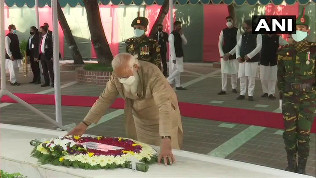 PM Modi visits mausoleum of 'Bangabandhu' Sheikh Mujibur Rahman, pays floral tributes