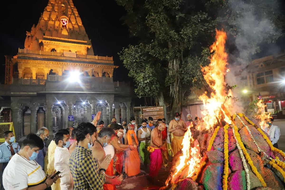 Holika Dahan in Mahakal temple premises in Ujjain on Sunday night