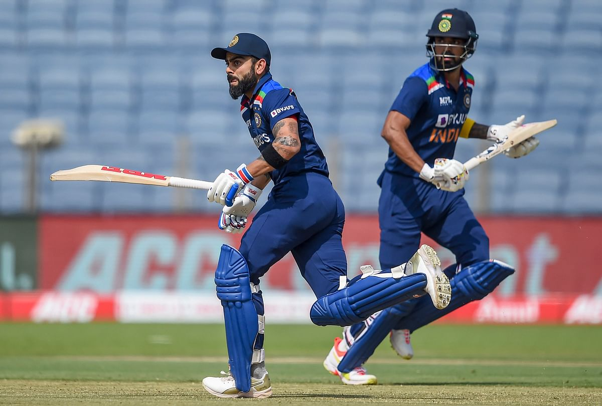 Pune: India batsman Virat Kohli and KL Rahul run between the wickets during the 2nd One Day International cricket match between India and England at Maharashtra Cricket Association Stadium, in Pune, Friday, March 26, 2021.