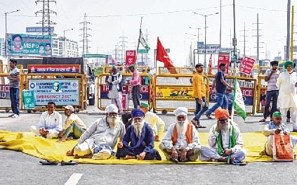 Farmers at Ghazipur at the Delhi-UP border on Friday.