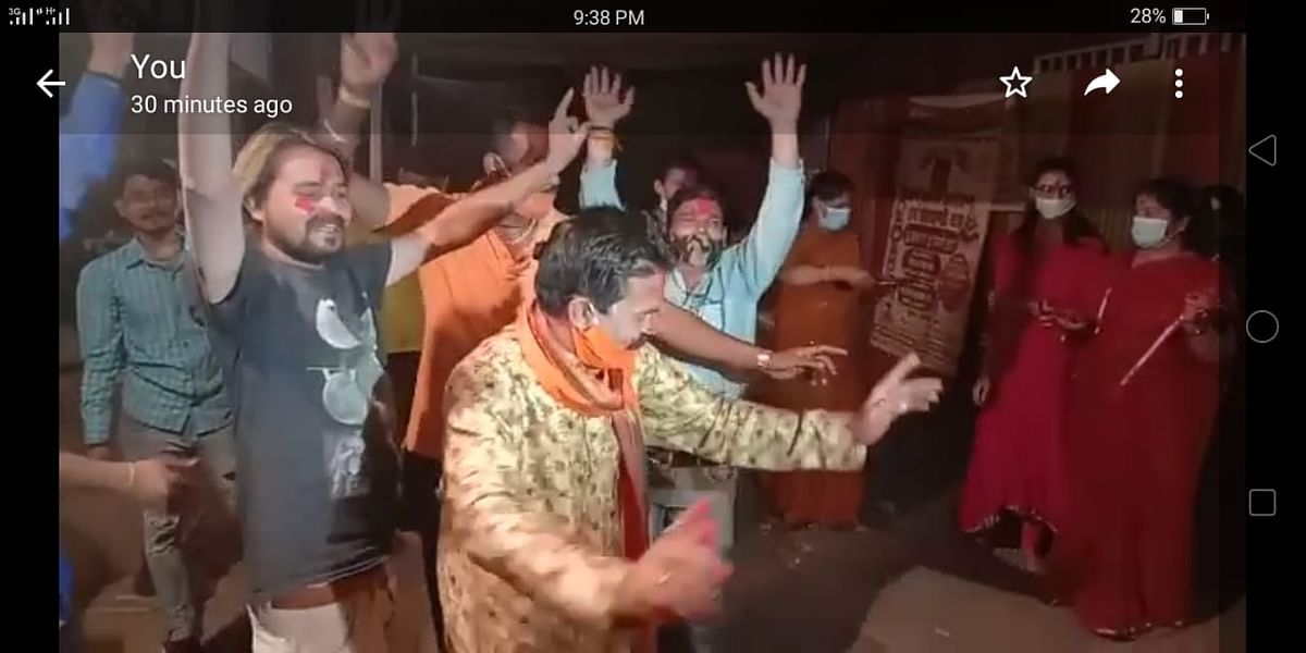 Devotees dance at Vaishno Devi temple in New Market in Bhopal