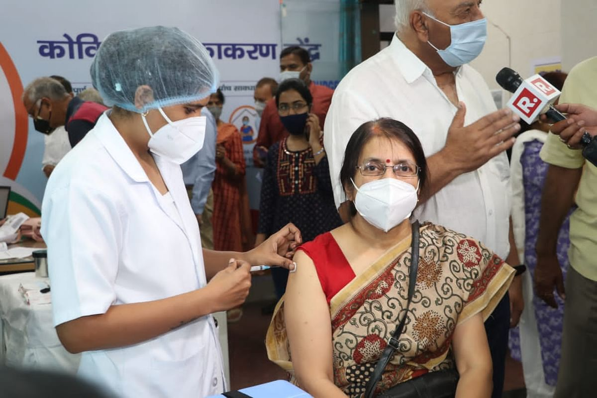 Local resident being vaccinated at Gandhi Medical College, Bhopal, on Monday