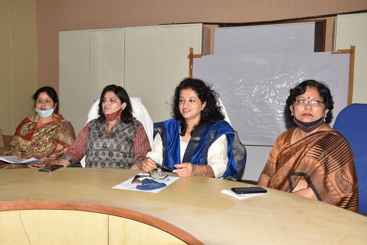 Madhya Pradesh Commission for Women chairperson, Shobha Oza, addressing a press conference in Bhopal on Thursday