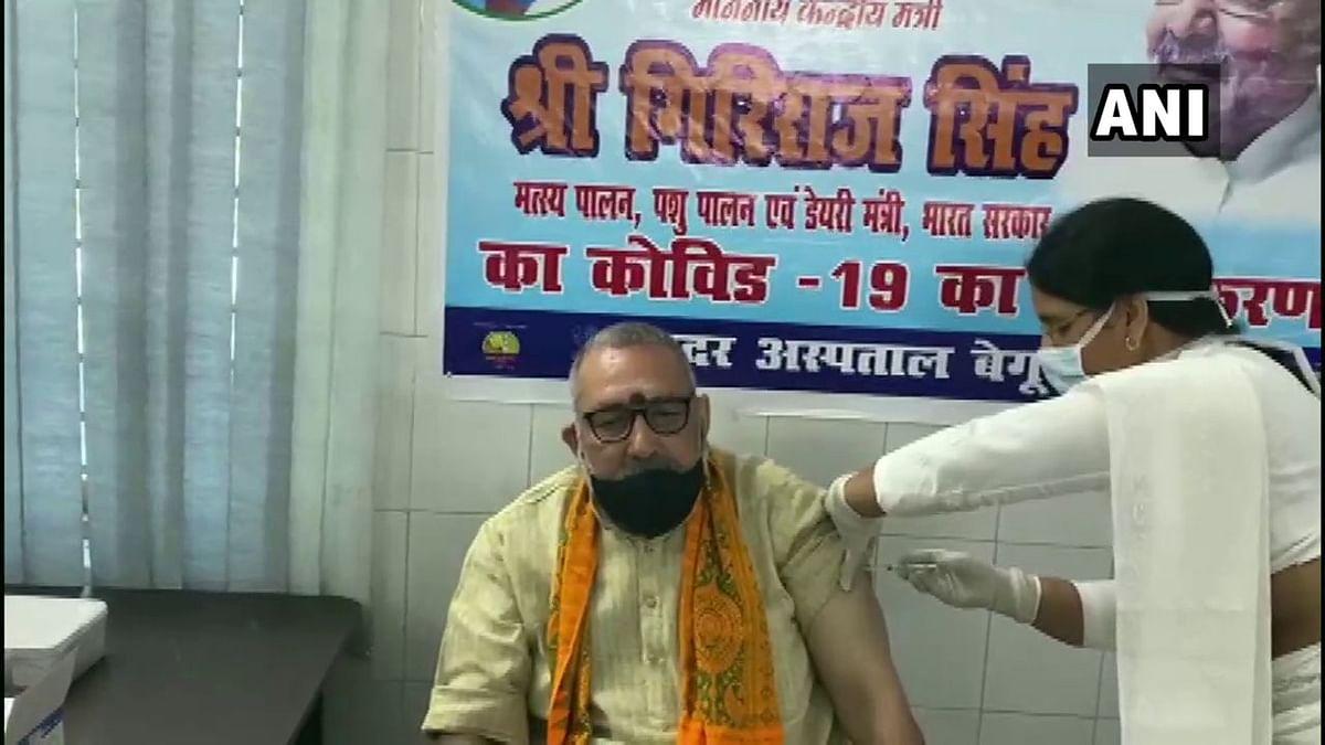 Union Minister Giriraj Singh receives first dose of COVID-19 vaccine at Sadar Hospital in Bihar