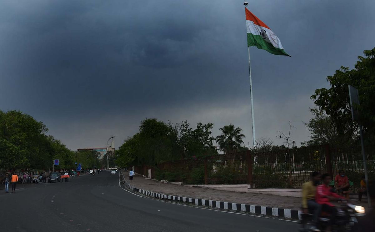 The overcast sky in Bhopal on Saturday.