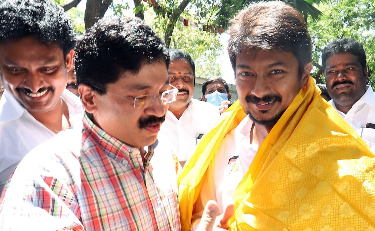 Udhayanidhi Stalin being greeted after his name in the list as DMK President MK Stalin releases it for the upcoming assembly election at the party headquarters, in Chennai on Friday.