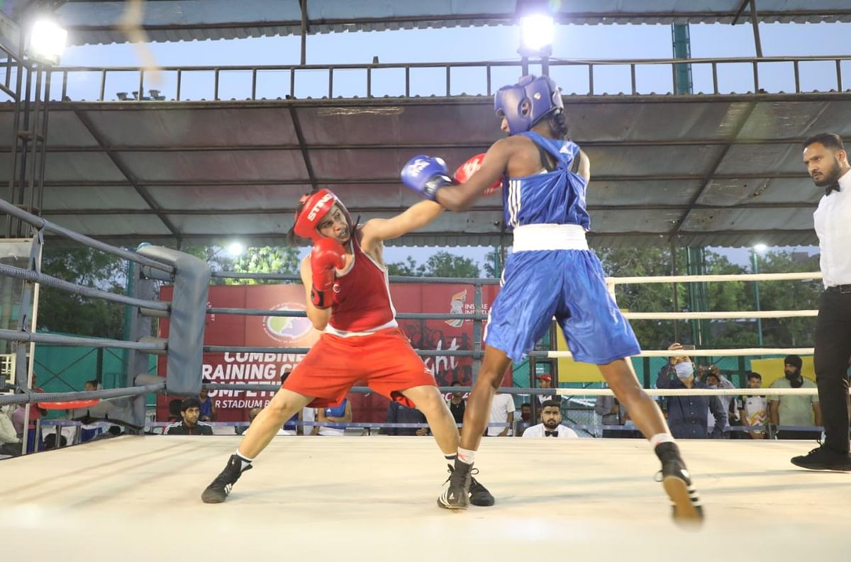 Boxing match underway at Tatya Tope stadium in Bhopal