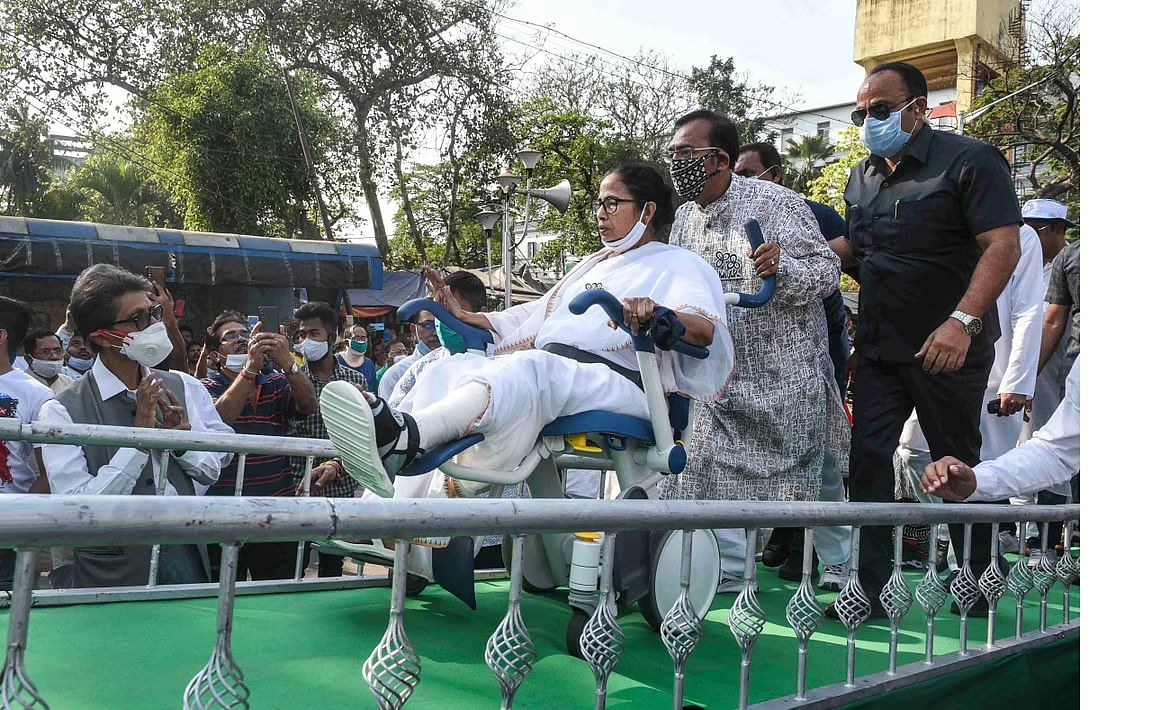Wheelchair-bound West Bengal CM Mamata Banerjee on the campaign trail