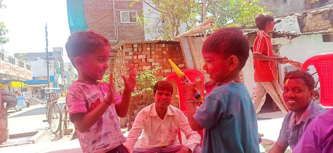 Children play Holi in Ujjain