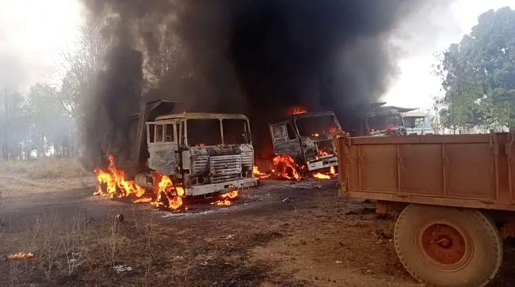 Watch: Naxals torch 12 vehicles engaged in road construction in Chhattisgarh's Kondagaon