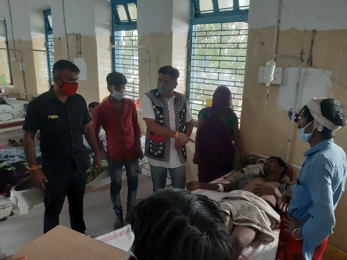 MLA Mukesh Patel at district hospital in Alirajpur on Saturday