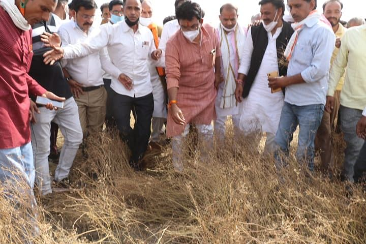 Madhya Pradesh: Mahendra Singh Sisodiya takes stock of the crop damage due to hailstorm, assures farmers of relief funds