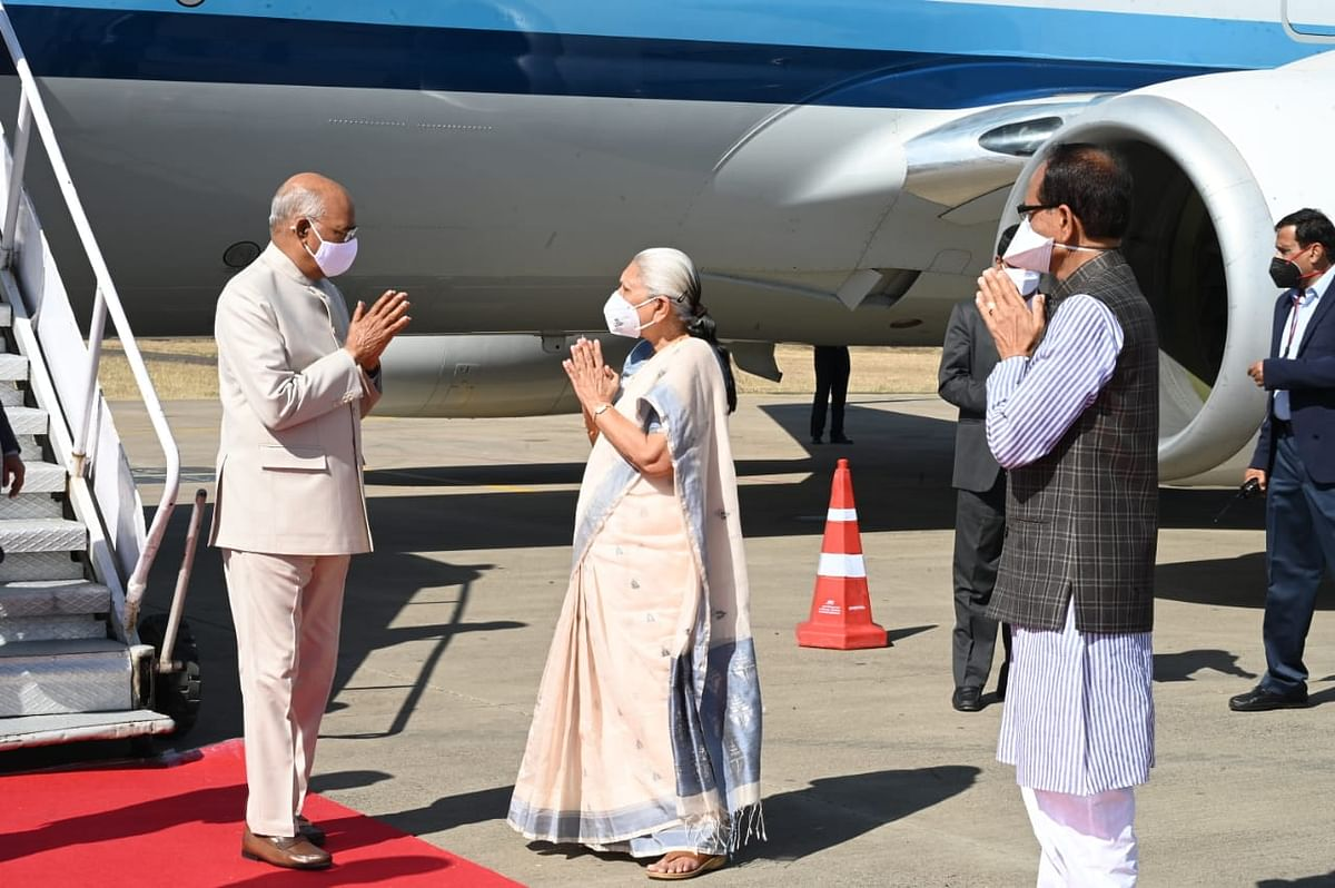 President Ram Nath Kovind was received by Governor Anandiben Patel, chief minister Shivraj Singh Chouhan at Dumna airport in Jabalpur on Saturday