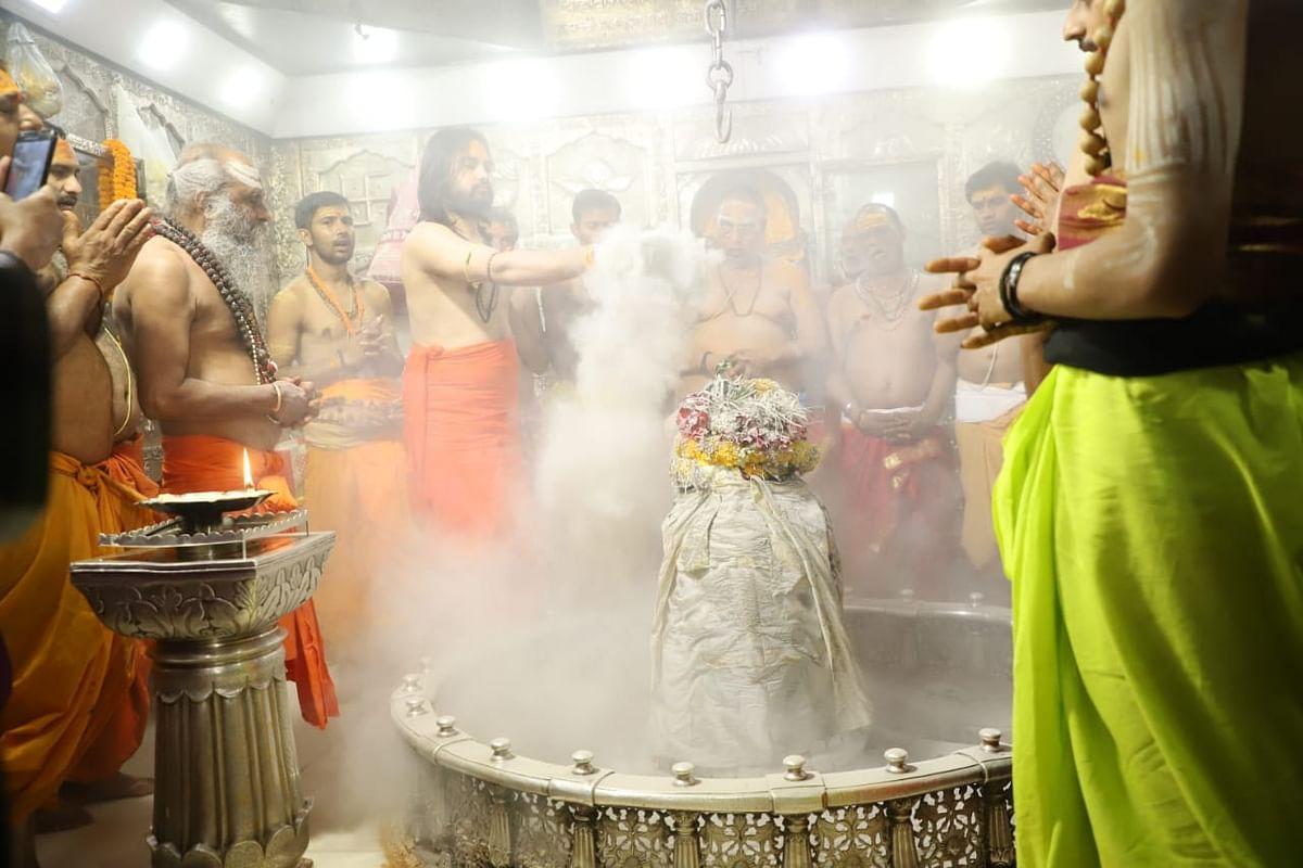 Bhasmaarti at Mahakaleshwar Temple, Ujjain on the occasion of Mahashivratri.