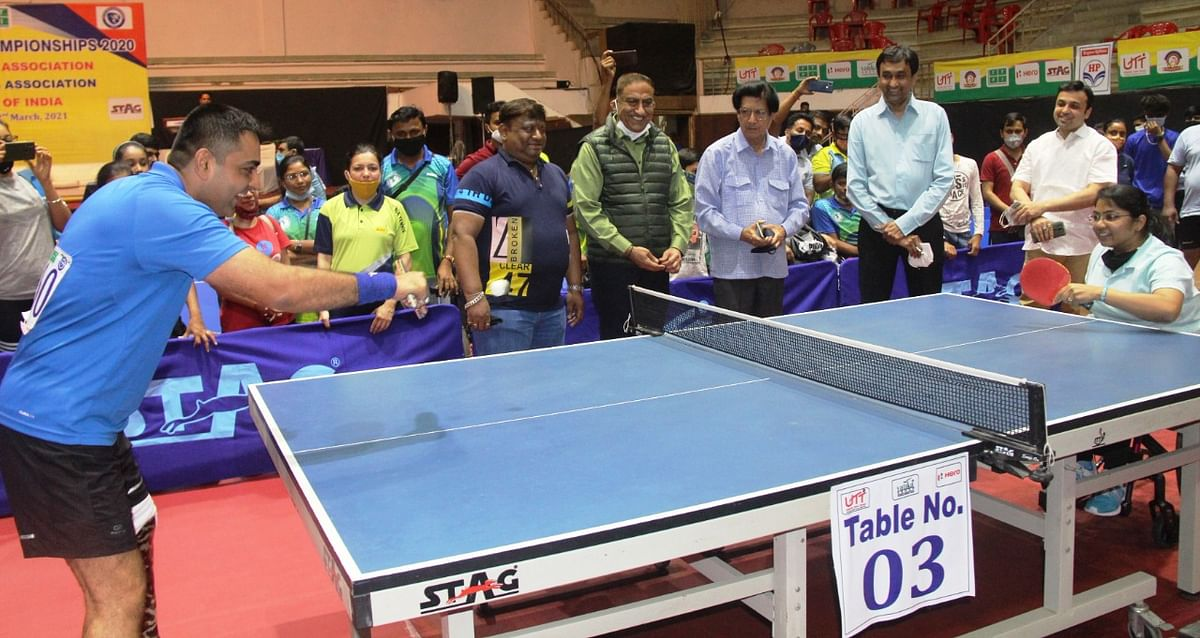 Table tennis match at Khel Prashal in Indore on Saturday