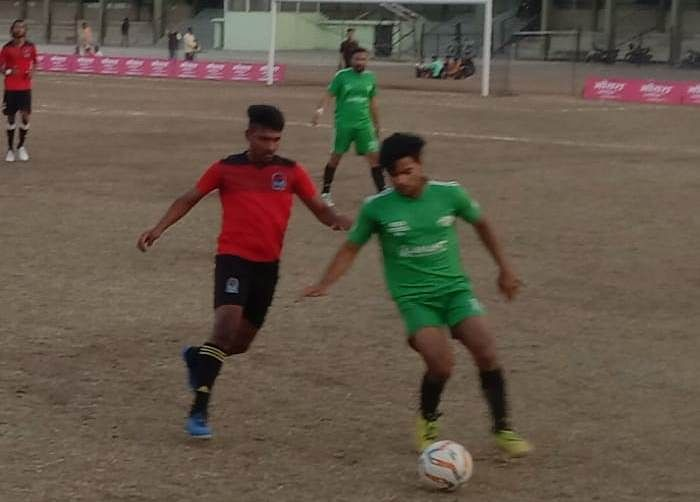District-level football competition at Nehru Stadium on Tuesday