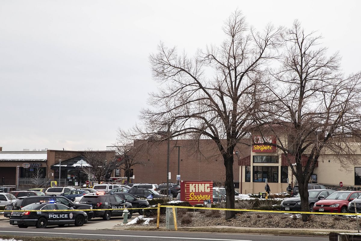 King Soopers grocery store where a gunman opened fire is shown on March 22, 2021 in Boulder, Colorado. Dozens of police responded to the afternoon shooting in which at least one witness described three people who appeared to be wounded, according to published reports.