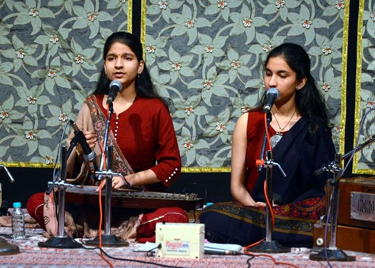 Vaidehi and Shaily Dwivedi  presenting a song at Bharat Bhavan  in the city on Monday evening